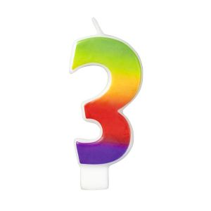 Rainbow-Colored Numeral #3 Candle